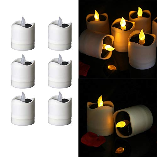 FORNORM 6 Stück Solar Kerzen Teelichter, Realistische Flammenlose Kerzen Außen Solarkerzen Kerzenlicht Lampe wasserdichte Kerzen Teelichtkerzen für Hochzeitsdekoration, Flackern Gelbes Licht