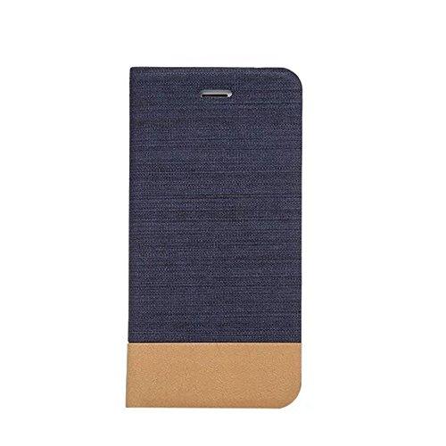 EKINHUI Case Cover Mischfarben Jeans Stoff Textur PU Ledertasche Soft TPU Zurück mit Kickstand und Card Slot für iPhone 7 ( Color : Darkblue ) Darkblue