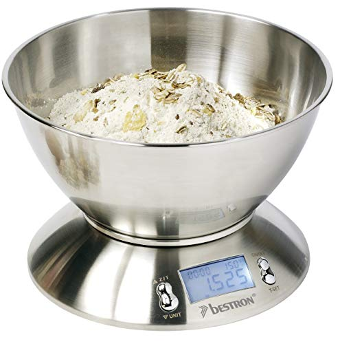Weighs accurately to 1 gram, with a capacity of 5 kg, featuring a big stainless steel bowl and non-slip feet;Clear illuminated LCD-display, including digital cooking timer;Reset/Tare function and automatic switch-off;Modern design and low-bat indicat...