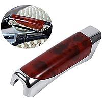 Protector de rotura de freno de mano del coche Funda de decoración Funda de freno de madera y fibra de carbono de estilo de mano con goma adhesiva(Red Wooden)