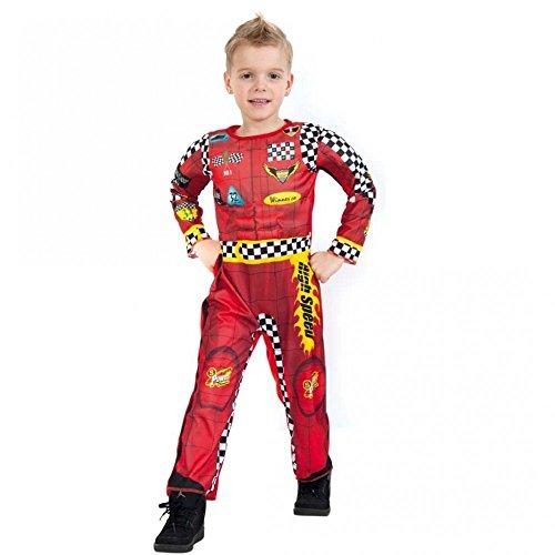 Kostüm Rennfahrer Ron Gr. 104- 128 Overall bedruckt Kinderfasching Autofahrer (128)