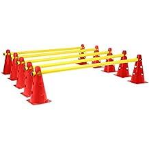 VINEX Juego de vallas de altura regulable para el entrenamiento de coordinación – palos y conos – amarillo-rojo