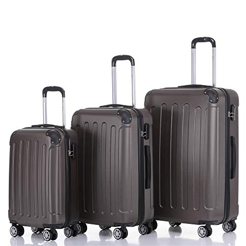 Handgepäck Koffer Hartschalen Trolley Rollkoffer Reisekoffer Mit Schloss Und 4 Rollen Leichtgewicht ABS Koffer Hartschale Für Reisen - Schwarz-Set