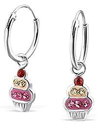 Paire de Boucles d'oreilles en argent sterling 925Motif cupcake avec pierres en cristal–avec boîte cadeau