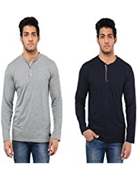 Five Stone Combo Pack Of 2 Solid Round Neck Navy Blue & Hayder Grey Coloured With Full Sleeve T-Shirt For Men