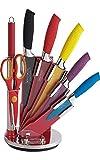Royalty Line - RL-COL8-W - Ensemble de couteaux de cuisine 8 pièces, antiadhésif, avec support, multicolore
