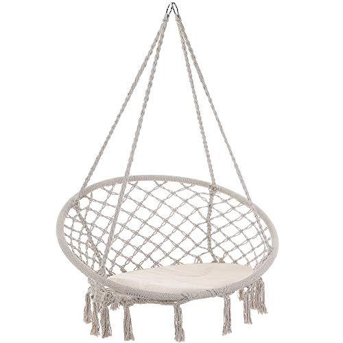 Detex sedia sospesa da gardino 150kg cuscino 2 anelli in acciaio seduta oscillante sedia sospesa da gardino 150kg cuscino 2 anelli in acciaio seduta oscillante crema