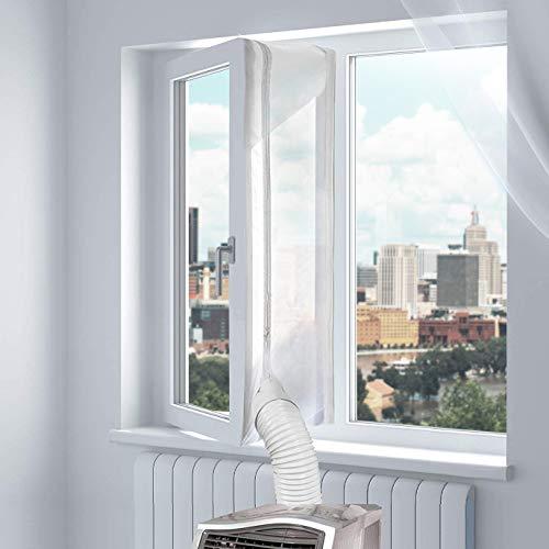 Fensterabdichtung für Mobile Klimageräte, Uong 400CM Fensterabdichtung Dachfenster, Einfach zu Installieren, mit Klebeband und Reißverschluss - Keine Bohrlöcher Erforderlich