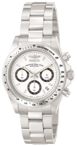Invicta Unisex Speedway Quartz Watch with White Dial Chronograph Display and Silver Stainless Steel Bracelet 9211