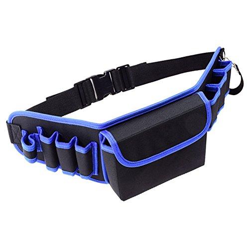 Aikesi Werkzeugtrage Bauchtasche Gürteltasche Wasserdichter Kunststoffboden ergonomischer Gummigriff Rahmen stahlverstärkt Verstellbarer Schultergurt Size 20 * 13 * 13 cm (Blau)