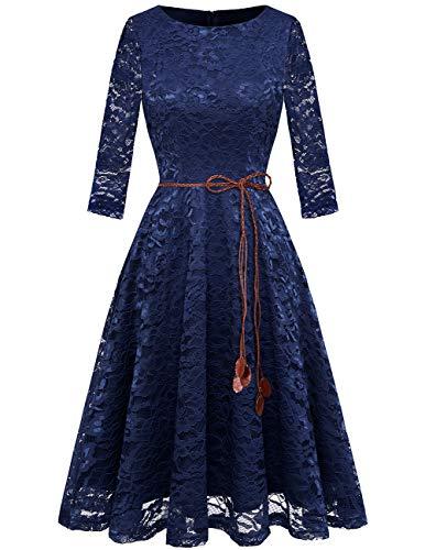 bridesmay Damen Spitzenkleid 3/4 Ärmel Prinzessin Blumen Abendkleid Brautjungfernkleider Navy M (Blau Blumen-mädchen-kleider In Navy)
