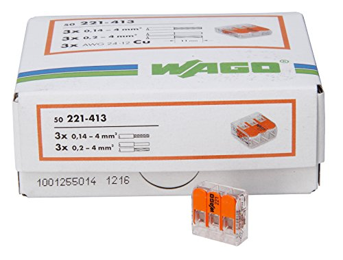 Kopp 33346427 WAGO Steckklemme 3-Fach mit Hebel für Flexible Drähte wiederöffenbar transparent/orange 1,5-2,5 mm² Inhalt 50 Stück