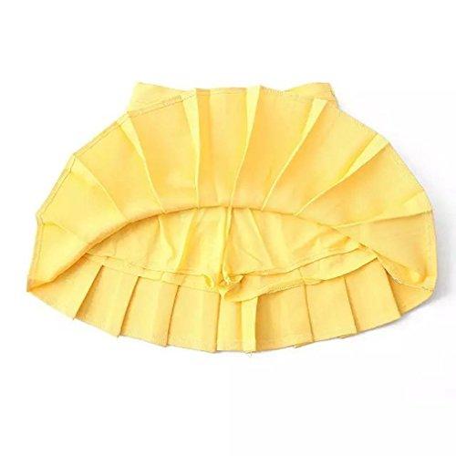 Y-BOA Courte Jupe-Short Tennis Plissée Skort Femme Fille Taille Haute Citron