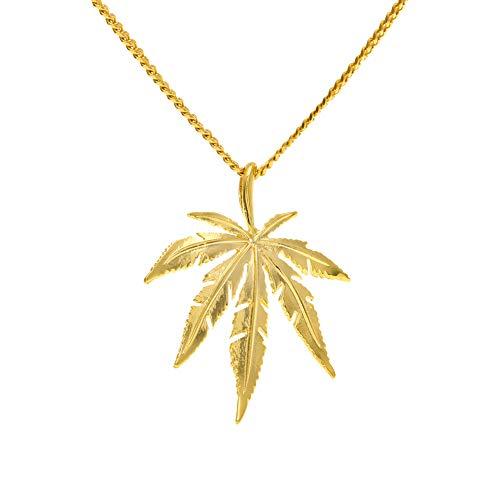 Qiulv Blatt Hiphop Anhänger Edelstahl Stehlen 18K Gold Überzogen Halskette Iced Out Glänzend Ahornblätter Halskette Kette Einzigartig Charme Schmuck Geschenk,Gold