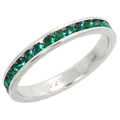 Revoni Sterling Silber Ewigkeit Band, W/Geburtsstein Mai, Smaragd Kristalle, 1/20,3cm (3mm) breit (Mais Band)