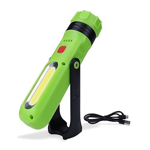 LE LED Taschenlampe, Superhell 500 Lumen Wiederaufladbare Akku Handlampe mit 1800mAh Powerbank, Magnete & Bügel, Dimmbare Handscheinwerfer für Camping, Angeln, Abenteuer, Wandern, Notfall usw.