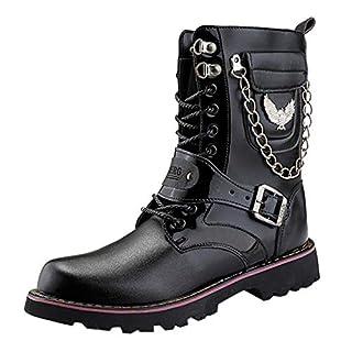 LSAltd Mode für Männer Individualität Retro Winterreitstiefel Klassische Stiefel mit hohem Schlauch Lässige Schnürstiefel mit runder Kappe