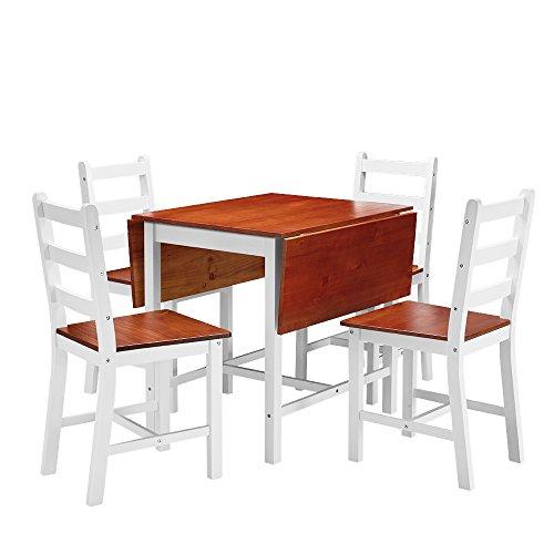 shougui trade Küche Esstisch Stühle Set, Ausziehtisch und 4 Massivholzstühle Platzsparende Küchenmöbel Tischstühle Set für Esszimmer Küche Office Lounge, Weiße Seite