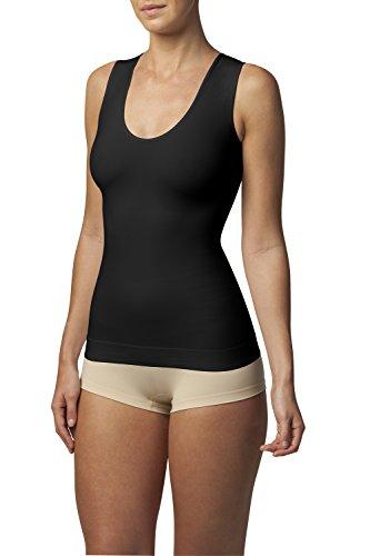 SLEEX Figurformendes Damen Unterhemd (Racerback) (44043), Schwarz, Groesse S/M (Flexees Bauch)