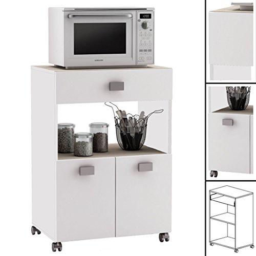 Küchenwagen 145 Akazie Weiss Küchentrolley Rollen Schublade