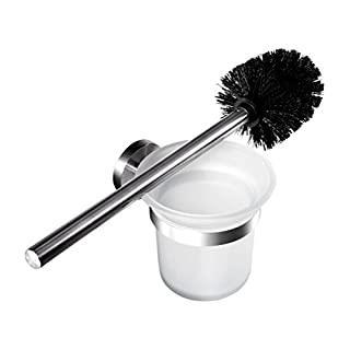 Ambrosya | Exclusive toilet brush holder made of stainless steel | Bathroom Bathroom Glass Holder Toilet Brush Toilet Set (Stainless Steel (Brushed))