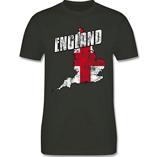 EM 2016 - Frankreich - England Umriss Vintage - Herren Premium T-Shirt Army Grün