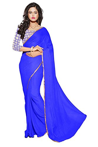 Sarees(Chiffon plain lace border Saree& net embroidared blouse)