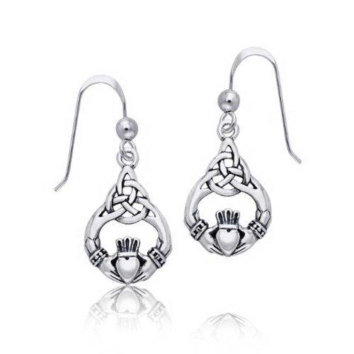 Bling Jewelry Celtiche Knotwork Claddagh ciondola gli orecchini del cuore 925 Sterling Silver - Knotwork Ciondola