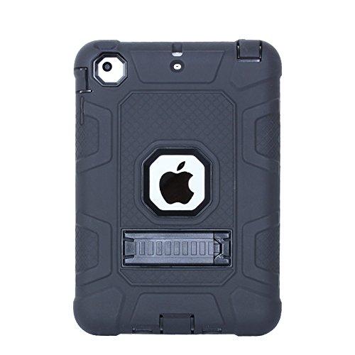 Yoomer Schutzhülle für iPad Mini, iPad Mini 2, iPad Mini 3, dreilagig, strapazierfähig, Stoßfest, mit Ständer für iPad Mini 1/2/3, All Black