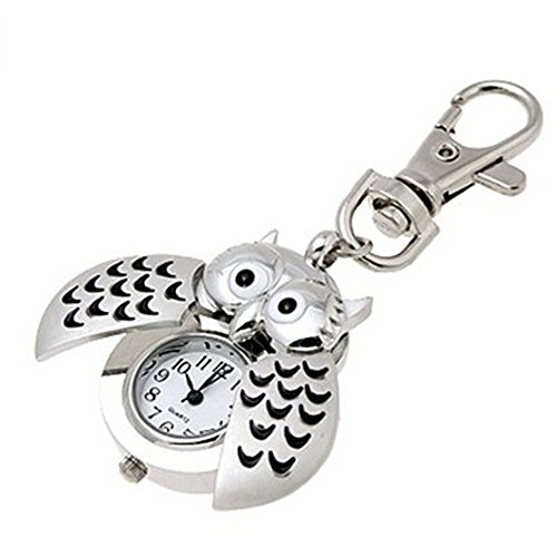 SKY Mujeres Mini metal llavero doble búho abierto reloj de cuarzo reloj de plata Mini Metal Key Ring owl double open Quartz Watch Clock- Silver