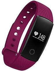 Pulsera Inteligente, SAVFY Deportes Pulsera Reloj de Pulsera Teléfono Celular Mate con Podómetro Con pantalla táctil SMS de llamada Bluetooth 4.0, Compatible con iPhone y Android Smartphone, Púrpula