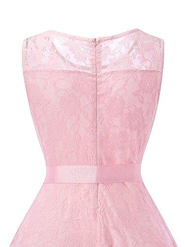 HENCY Damen Spitzen Rockabilly Kleid Festlich Partykleid Cocktailkleid Brautjungfern Kleid Rundhals Ärmellos Rosa