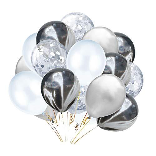 P Prettyia 20x Konfetti Ballon Latexballon Luftballon Party Supplies, 5 Stile Auswahl - Schwarz + Weiß + Silber (Silber Und Weiß Dekorationen Schwarz,)