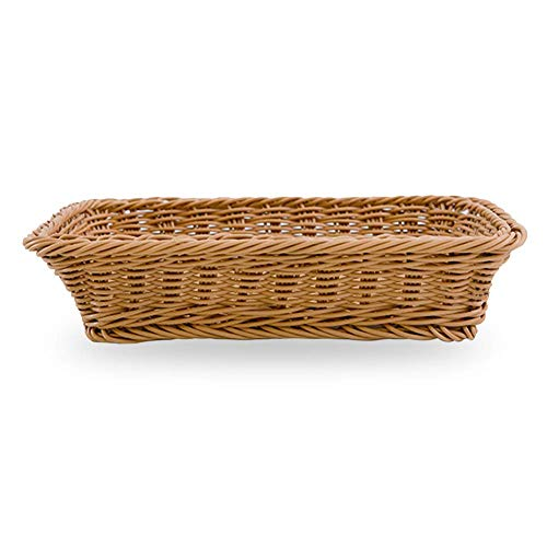 Brotkorb, rechteckig, waschbar, Rattan-Tablett zum Servieren von Speisen, Restaurant/Küche/Couchtisch, Dekoration, Körbe, Obstbehälter