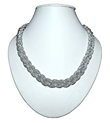 Rhodium plated Alloy chain with American Diamonds,Color-Silver(New)
