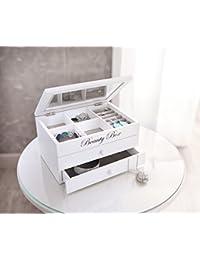 """Schmuckkästchen """"Beauty Box"""", weiß Holz, lackiert in mattem Weiß, Klappdeckel mit Glaseinsatz und praktischer Facheinteilung, zusätzlich zwei Schubladen für größere Schmuckstücke, ausgeschlagen mit grauem Textil 22 x 15 x 12 cm, ohne Inhalt"""