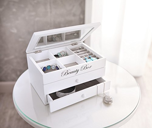 Schmuckkstchen-Beauty-Box-wei-Holz-lackiert-in-mattem-Wei-Klappdeckel-mit-Glaseinsatz-und-praktischer-Facheinteilung-zustzlich-zwei-Schubladen-fr-grere-Schmuckstcke-ausgeschlagen-mit-grauem-Textil-22-