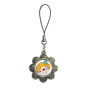 Giftjewelryshop Bronze Style antique rétro tête de Clown Photo en émail Motif fleur Pendentif Bracelet chaîne de téléphone Charm portable