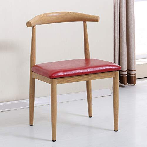 seeksungm Chair, Single imitation wood Horn Chair, Low Carbon Eco-Friendly Restaurant Chair, simple Casual Armchair, Total height 75 cm * Width 47 cm, White Orange