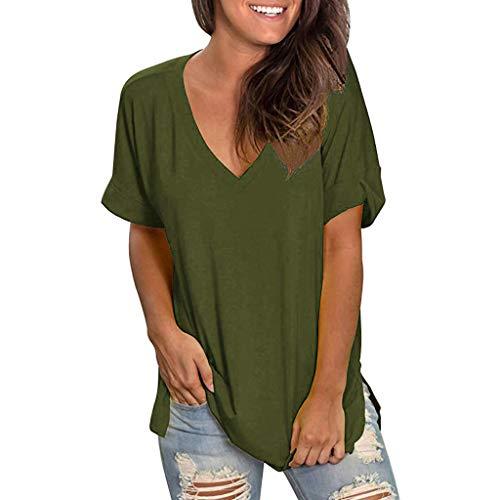 mounter- Damen Sommer V-Ausschnitt Kurzarm T-Shirt Casual Tunika Tops Bluse Damen Floral Print Pullover Shirt Tunika Tops Gr. Medium, Army Green a