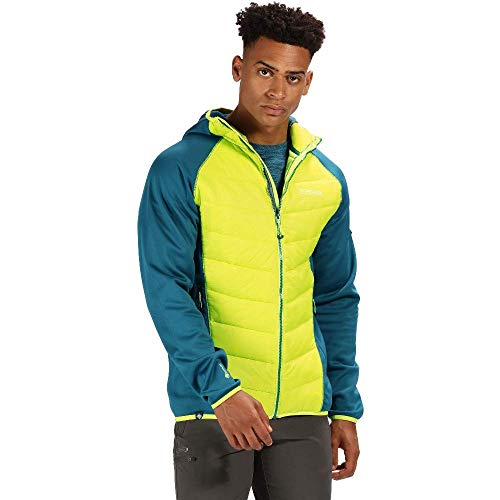Regatta Herren Andreson IV Insulated Water Repellent Stretch Hybrid Hooded Down Jacke, Sea Blue/LimePunch, L Stretch-jacke