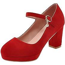 006607126158b6 Agodor Damen Blockabsatz Riemchen Pumps mit Schnalle und Plateau High Heels  Elegant Büro Schuhe