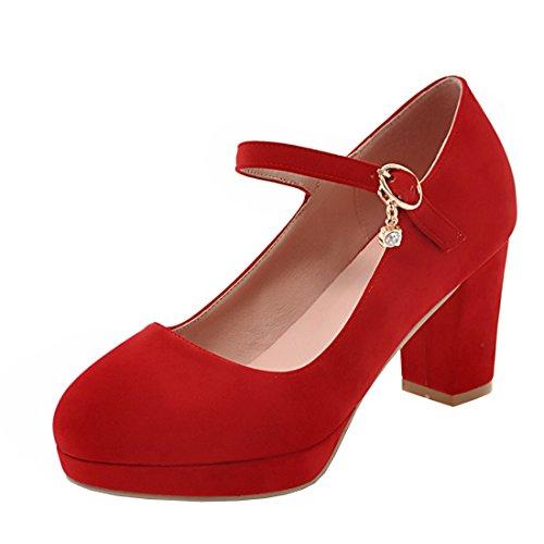 Agodor Damen Blockabsatz Riemchen Pumps mit Schnalle und Plateau High Heels Elegant Büro Schuhe