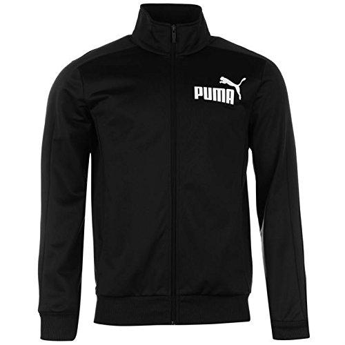 Puma Herren Sportjacke, Oberbekleidung, voller Reißverschluss, hoher Kragen, langärmlig, gerippte Bündchen Größe L schwarz
