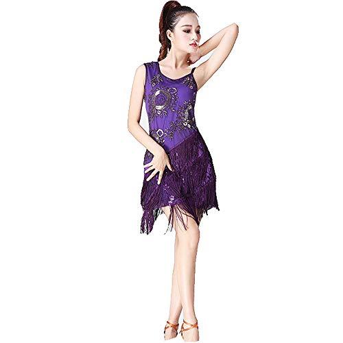 Für Verkauf Tanz Wettbewerb Kostüm - Tanzkleid Frauen Dancewear Pailletten Fransen Quasten Ballsaal Samba Tango Latin Dance Dress Wettbewerb Kostüme Themen Party Swing Dress Tanzkostüm für Damen ( Farbe : Lila , Größe : XL )