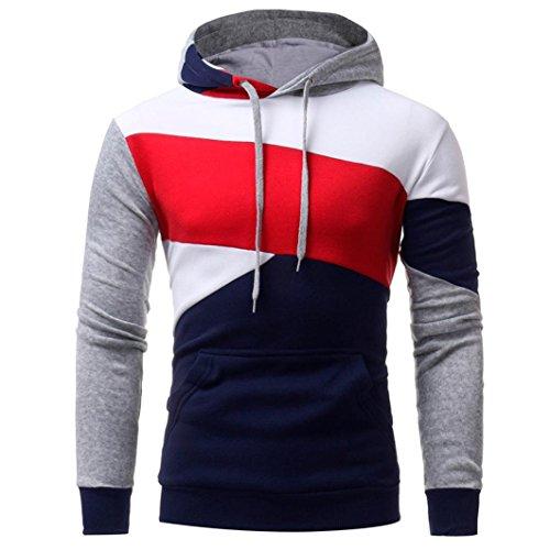 Paolian Chandail à Capuchon à Capuchon pour Hommes, Couleur Assortie à Un Sweat-Shirt Confortable pour l'automne et l'hiver