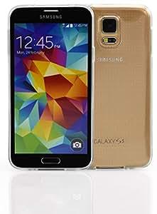 steve-tronik® Premium Schutzhülle Hülle Case TPU Silikon für Samsung Galaxy S5 i9600 Smartphone - Transparent / Klar