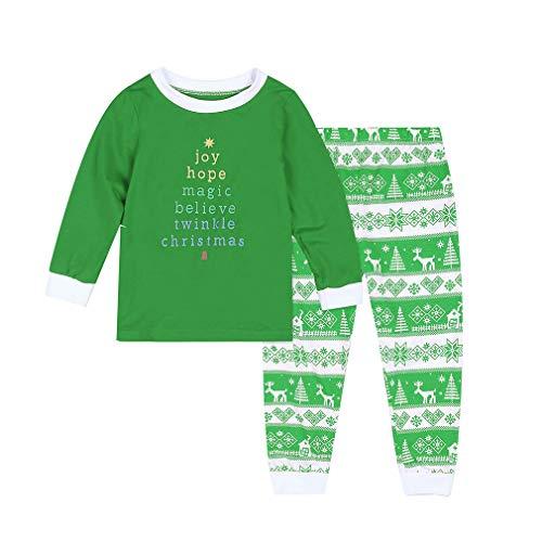 WEIMEITE Neujahr Familie Weihnachten Pyjama Familie passenden Outfit Vater Mutter Tochter Mädchen Junge Kleidung Sets Pyjamas Family Look Kind-Grün 80