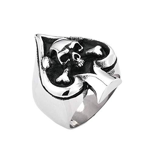 Amody Anillo de los Hombres góticos Poker Skull Shepherd Plata Negra Anillo de Acero Inoxidable para Hombre Tamaño 17