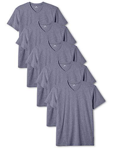 Lower East Herren T-Shirt mit V-Ausschnitt, 5er Pack, Blau (Rauchblau Melange), Small